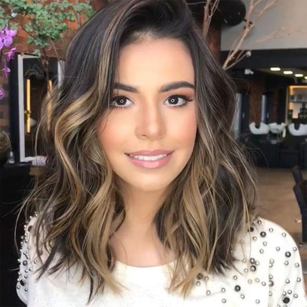Fashion Partial Shoulder Curls Big Wave Gradient Brown Hair Wig