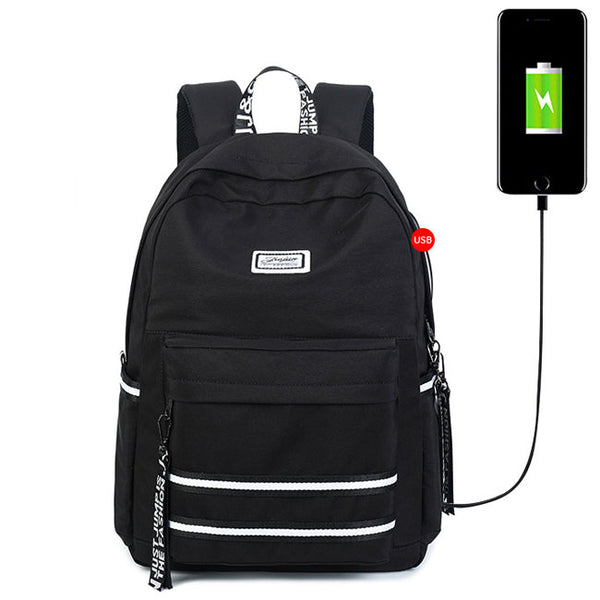Unique Stripe USB Interface Large College Canvas Backpack  Double White Stripe Waterproof Student Bag