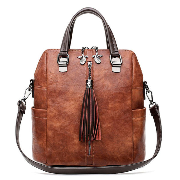 Retro Leather Backpack Multi-function Tassel Handbag Backpack Women's Shoulder Bag