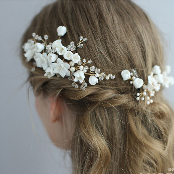 Fashion Leaves Pearl Crystal Wedding Hair Band Bridal White Flower Branch Hairpin Accessories