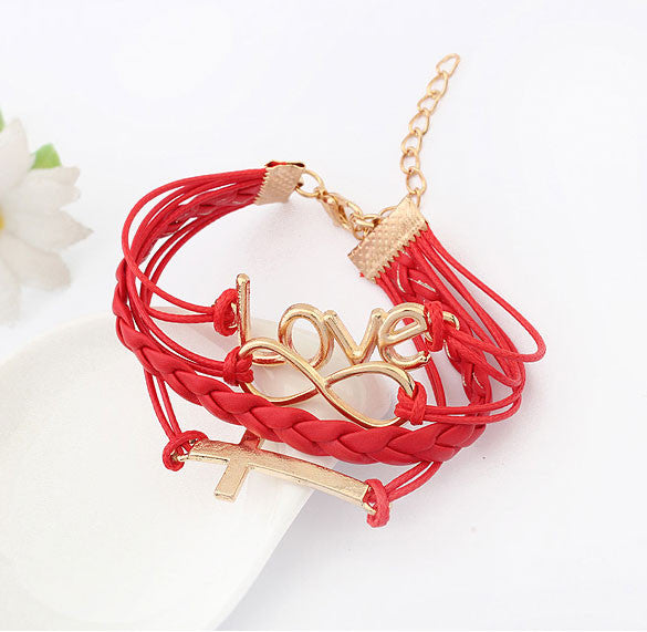 Romantic Password Love Cross Infinity Bracelet - lilyby