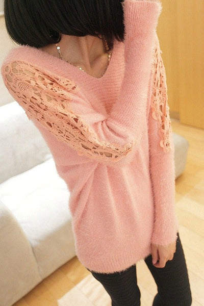 Sexy Lace Pierced  Bat Sleeve knit &Cardigan - lilyby