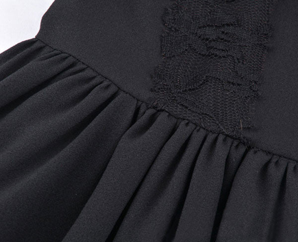 See Through Black Lace Stitching Pleated Dress - lilyby