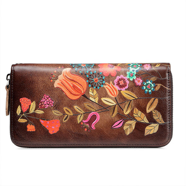 Retro Leaves Branch Embossing Wallet Vintage Large Long Purse Colorful Flower Bird Large Phone Clutch Bag