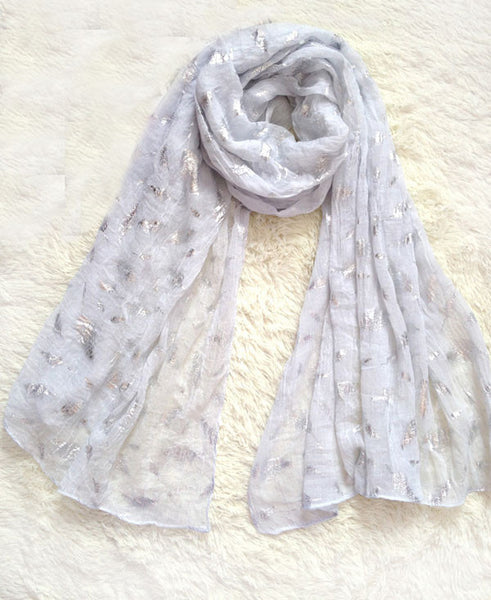 Retro Feather Printed Voile Infinity Scarf - lilyby