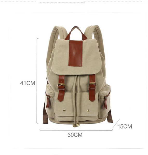 Retro Nice Big Leather Travel Canvas Backpack - lilyby