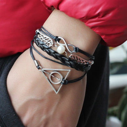 Cute Wings Deathly Hallows Infinity Bracelet - lilyby