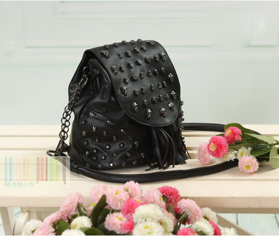 New Retro Fringeds With Skull Rivet Backpack& Handbags - lilyby