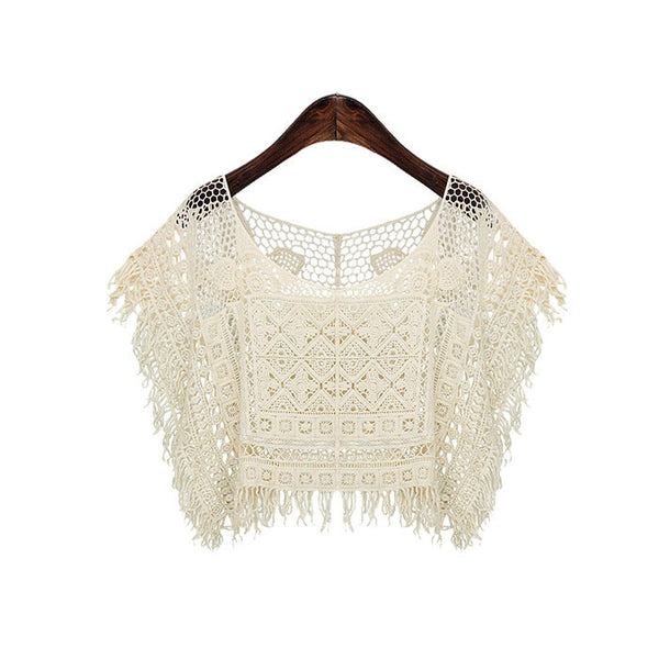 New Joker Neck Hollow Fringed Lace Smock - lilyby
