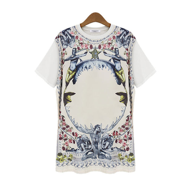 New Rose Printed Round Neck T-shirts - lilyby