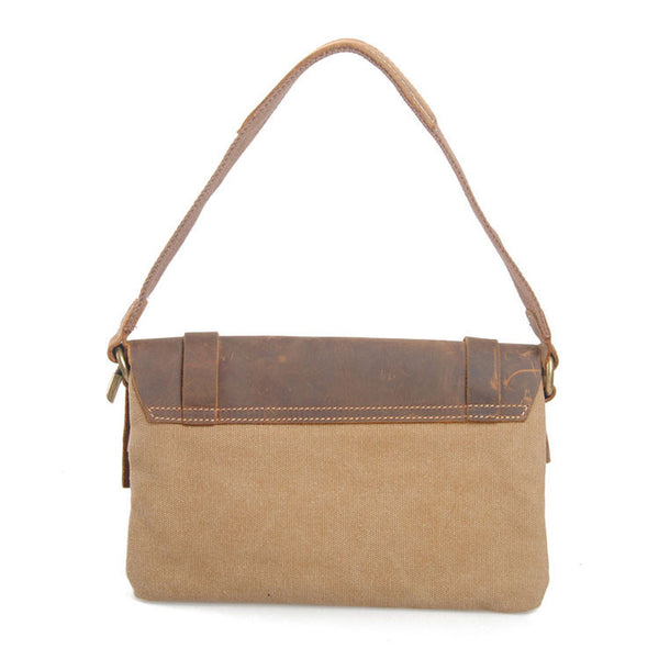 Retro Cowhide Leather Canvas Messenger Bag - lilyby