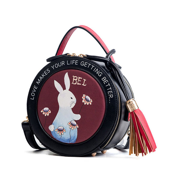 Cute Small Round Rabbit Tassel Drum Lady Mini Shoulder Bag