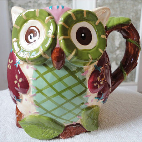 Hand-painted Cartoon Owl Reliefs Ceramics Cup - lilyby
