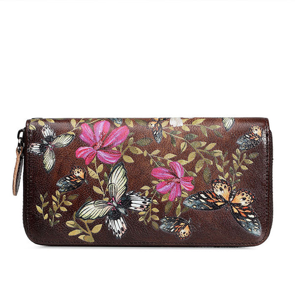 Retro Cowhide Embossing Large Long Wallet Women Purse Butterfly Flower Leaves Phone Clutch Bag