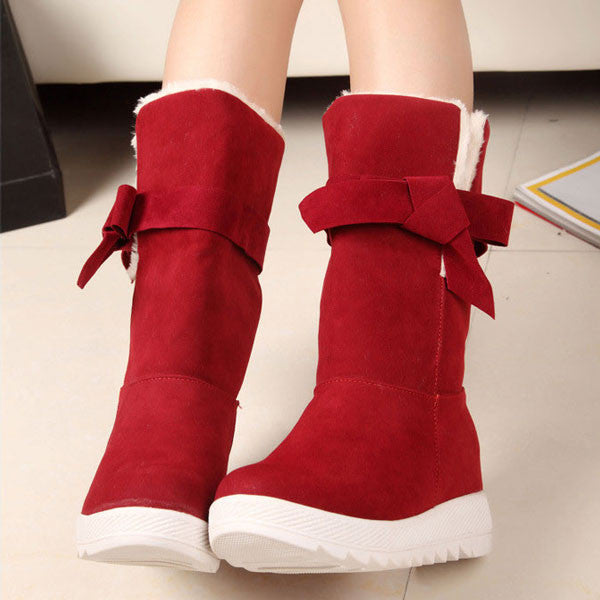 Sweet Bowknot Warm Winter Snow Boots Shoes