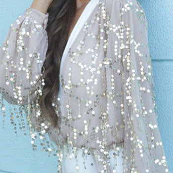 Tassels Sexy Sequin Shiny Glitter Sparkle V-Neck Long Sleeve Bodycon Dress