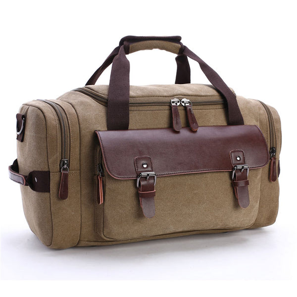 Retro Luggage Bag Large Capacity Travel Canvas Messenger Bag Leather Buckle Stitching Shoulder Bag