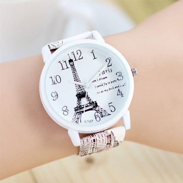 Cute Paris Eiffel Tower Quartz Watch Ladies Students Casual Watches