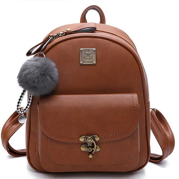 Retro Lock Button Simple Pure Color Student Bag Women Backpack