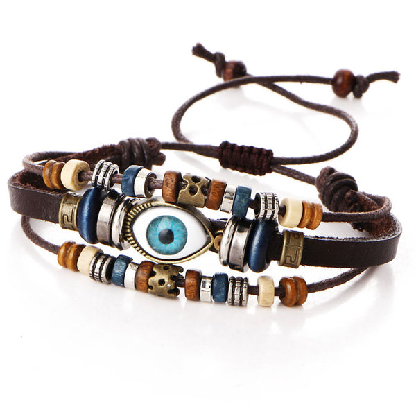 Leisure Ethnic Eyeball Multi-layer Adjustable Eye Beaded Hand-woven Leather Bracelet