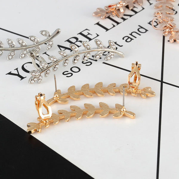 Lovely Leaves Branches Rhinestone Ear Clips