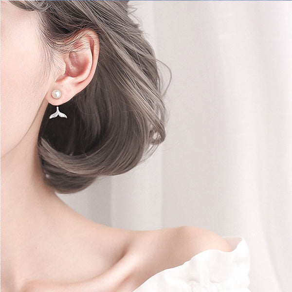 Cute Pearl Mermaid Tail Diamond Silver Women Drop Earrings Studs