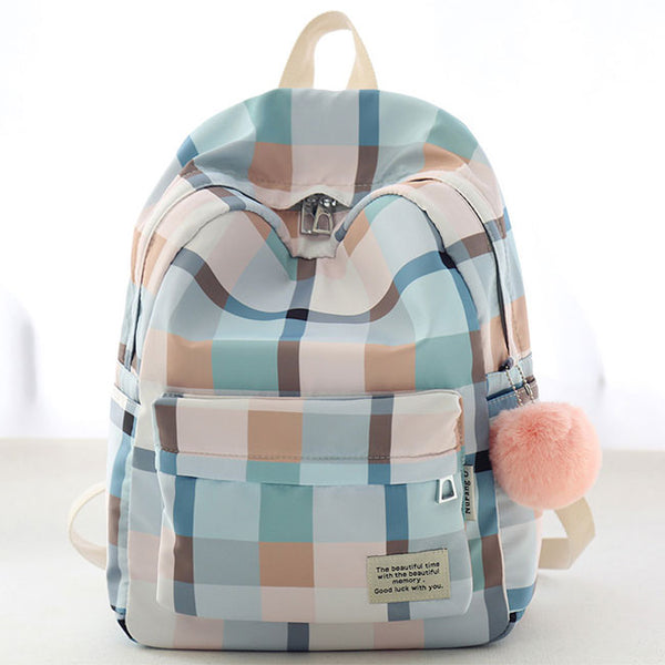 New Lattice School Bag Grid Large College Canvas Backpack