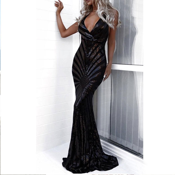 Fashion Strapless Backless V-neck Sequin Party Skirt Long Dress