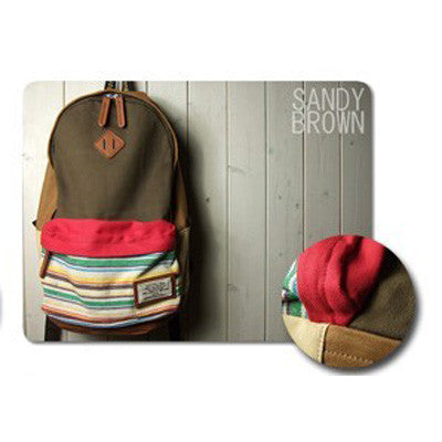 Folk Fashion Mixing Color Stripe Print Canvas Backpack - lilyby