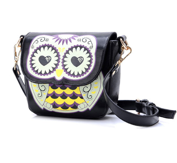 Cartoon Owl Floral Print Mini Shoulder Bag - lilyby