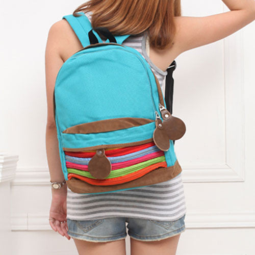 Unique RainBowknot Stripe Canvas Backpack