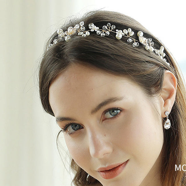 Unique Pearl Branch Handmade Beaded Headband Wedding Beautiful Flower Hair Accessories