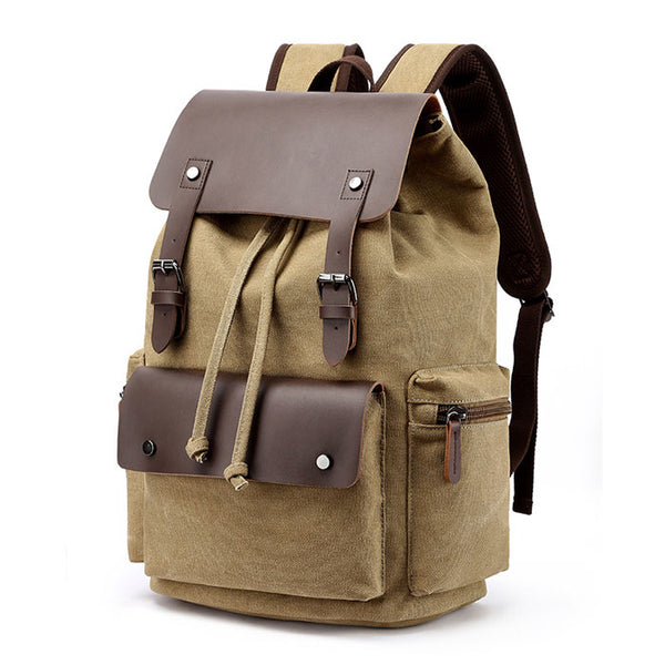 Retro Double Buckle Leather Thick Canvas Large Travel Rucksack Student Backpacks