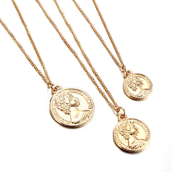 Fashion Women Face Coin Pendant Multi-layer Vintage Clavicle Necklace