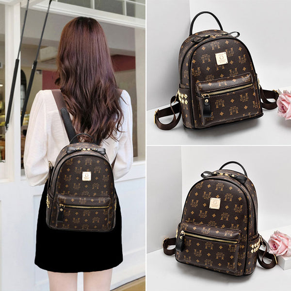 Leisure Student Bag Rivet Soft Pu School Backpack