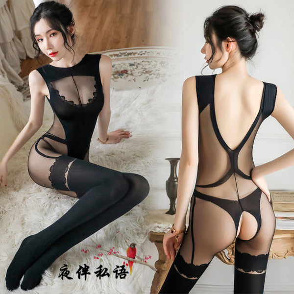 Sexy Crotch Stockings Perspective Bar Girl Wertical Stripe Open Conjoined Women's Lingerie