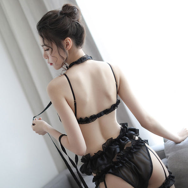 Sexy Garter Lace Sweet Bow Girl Bra Set Panties Temptation Princess Lingerie