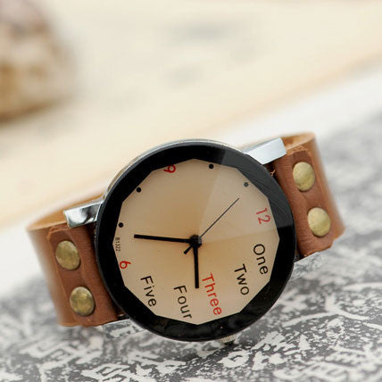 Retro Originality Number Leather Watch