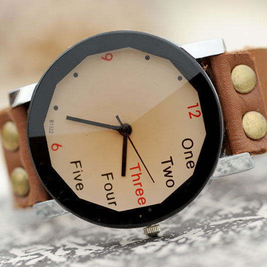Retro Originality Number Leather Watch - lilyby