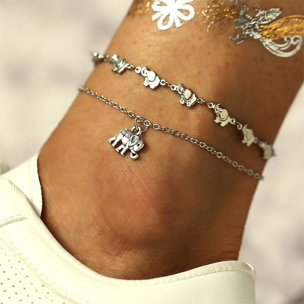 Vintage Elephant Sling Pendant Anklet Set 2 Piece Set Leisure Foot Accessory Anklet