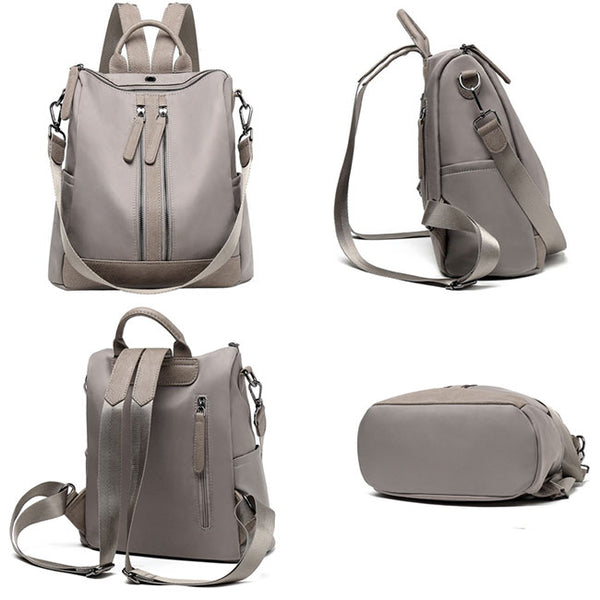 Elegant Multi-function Handbag Large  Waterproof Double Zipper PU School Backpack