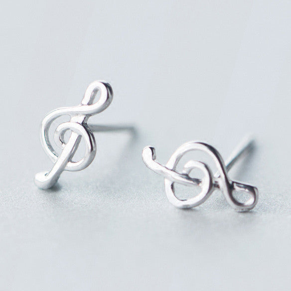 Cute Beauty of Line Silver Music Notes Sweet Women's Earring Studs