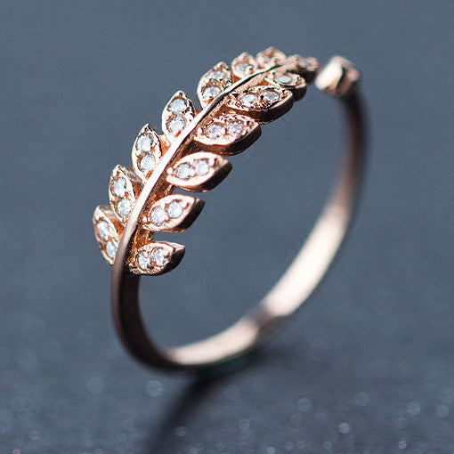 Cute Diamond-bordered Silver Feather Pure Leaves Shape Open Ring