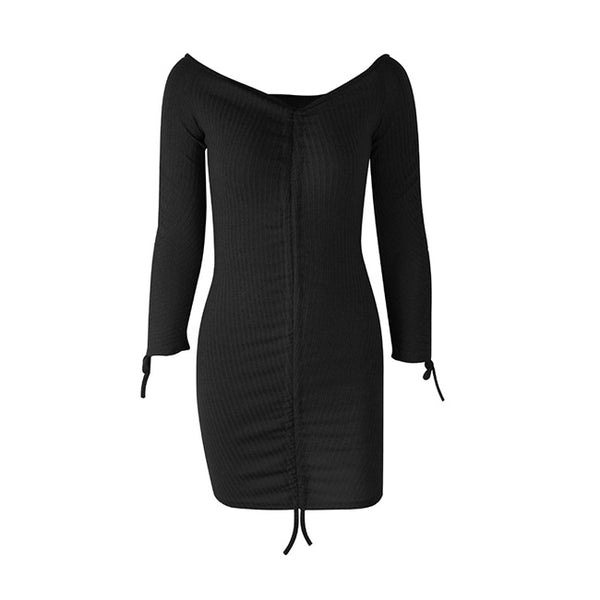 Sexy Long Sleeve Skirts Fold Style Off Shoulder Body-con Dress