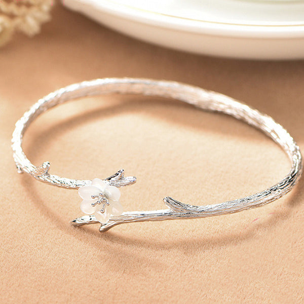 Handmade Cherry Imitating Branch Lines Circular Ring Shell Silver Flower Open Bracelet