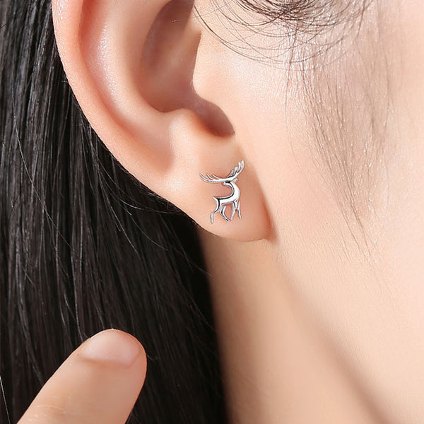 Cute Deer Animal Silver Female Earrings Studs Elk Earrings