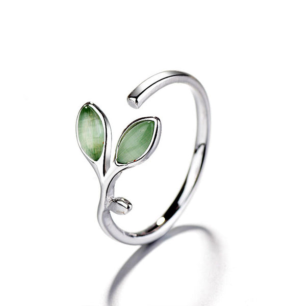 Cute Green Young Leaves Ring Opal Female Open Ring