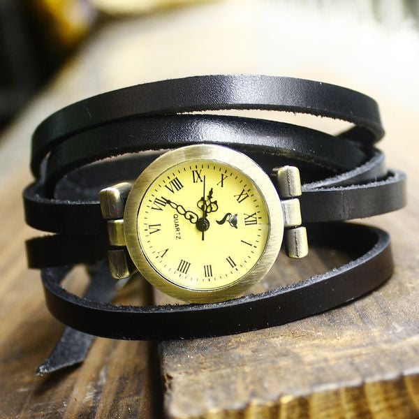 Retro 5 Circles Dial Leather Bracelet Watch - lilyby