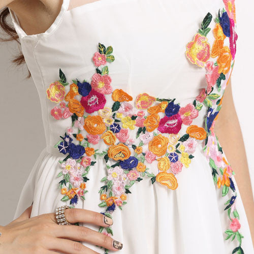 Summer Cheap Stereoscopic Embroidery Irregular Chiffon Dress