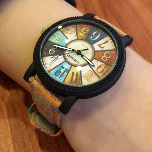 Unique Dusk Compass Fantasy Rome Charm Leather Band Student Casual Wrist Watch